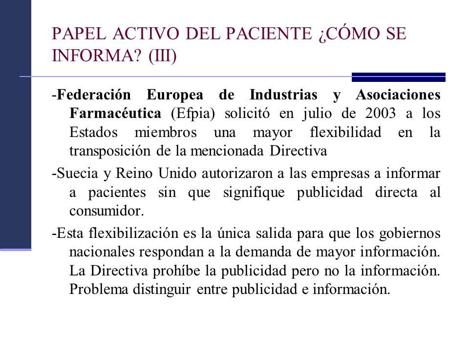 PAPEL ACTIVO DEL PACIENTE ¿CÓMO SE INFORMA? (III) -Federación Europea de Industrias y Asociaciones Farmacéutica (Efpia) solicitó en julio de 2003 a lo