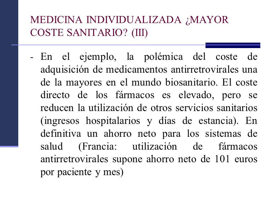 MEDICINA INDIVIDUALIZADA ¿MAYOR COSTE SANITARIO? (III) - En el ejemplo, la polémica del coste de adquisición de medicamentos antirretrovirales una de