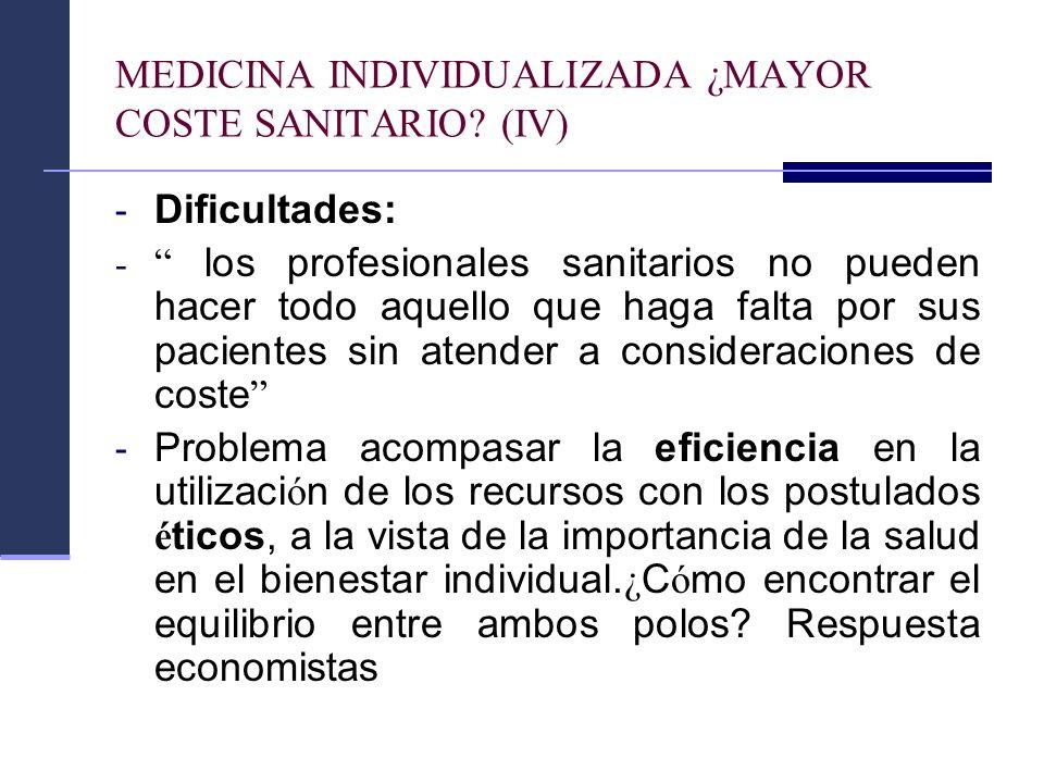 MEDICINA INDIVIDUALIZADA ¿MAYOR COSTE SANITARIO? (IV) - Dificultades: - los profesionales sanitarios no pueden hacer todo aquello que haga falta por s