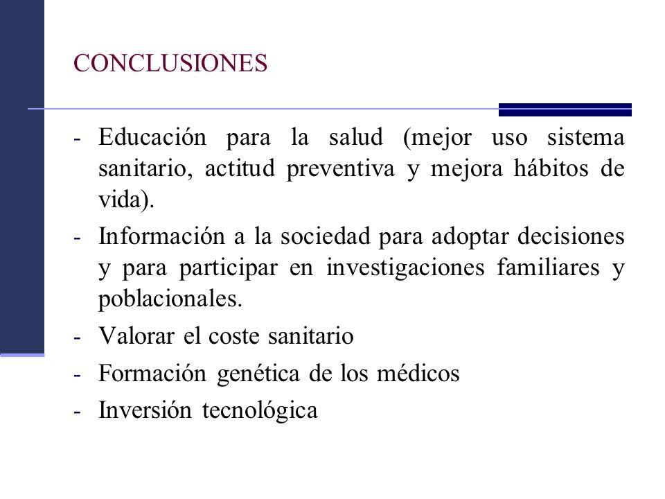 CONCLUSIONES - Educación para la salud (mejor uso sistema sanitario, actitud preventiva y mejora hábitos de vida). - Información a la sociedad para ad