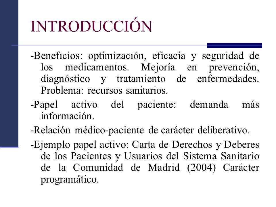 INTRODUCCIÓN -Beneficios: optimización, eficacia y seguridad de los medicamentos. Mejoría en prevención, diagnóstico y tratamiento de enfermedades. Pr