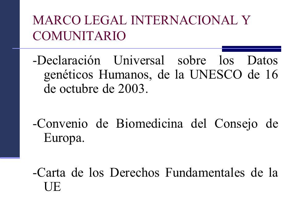 MARCO LEGAL INTERNACIONAL Y COMUNITARIO -Declaración Universal sobre los Datos genéticos Humanos, de la UNESCO de 16 de octubre de 2003. -Convenio de