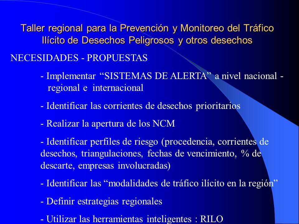 Taller regional para la Prevención y Monitoreo del Tráfico Ilícito de Desechos Peligrosos y otros desechos NECESIDADES - PROPUESTAS - Implementar SISTEMAS DE ALERTA a nivel nacional - regional e internacional - Identificar las corrientes de desechos prioritarios - Realizar la apertura de los NCM - Identificar perfiles de riesgo (procedencia, corrientes de desechos, triangulaciones, fechas de vencimiento, % de descarte, empresas involucradas) - Identificar las modalidades de tráfico ilícito en la región - Definir estrategias regionales - Utilizar las herramientas inteligentes : RILO