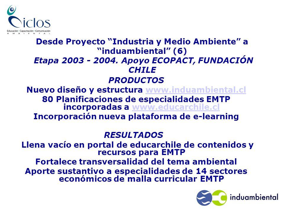Desde Proyecto Industria y Medio Ambiente a induambiental (6) Etapa 2003 - 2004.