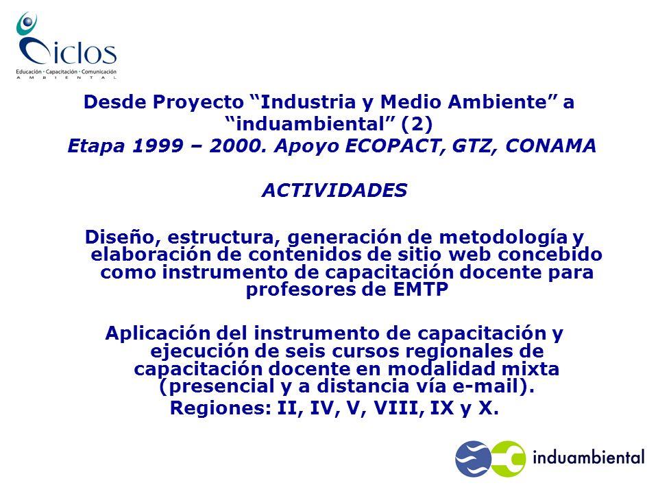 Desde Proyecto Industria y Medio Ambiente a induambiental (2) Etapa 1999 – 2000.