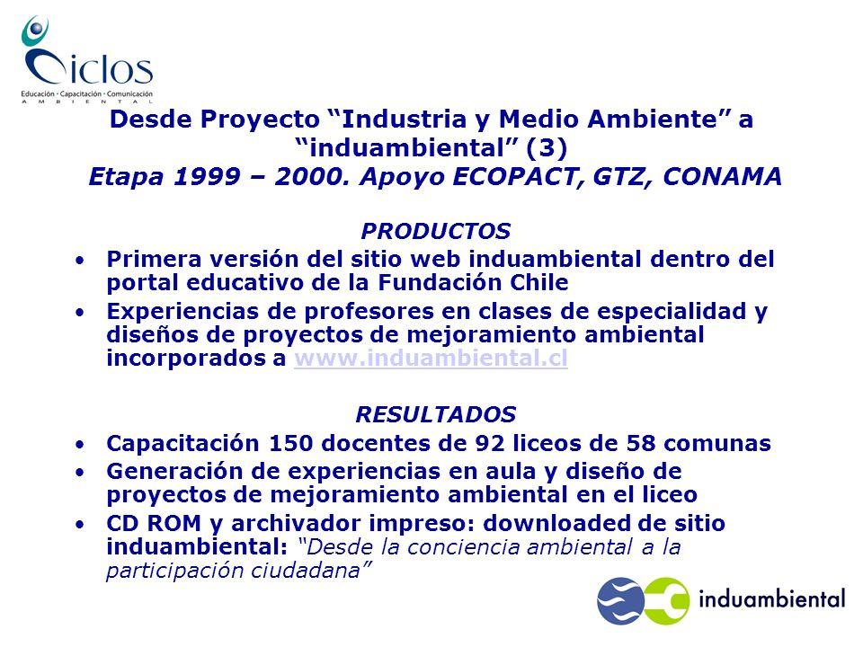 Desde Proyecto Industria y Medio Ambiente a induambiental (3) Etapa 1999 – 2000.