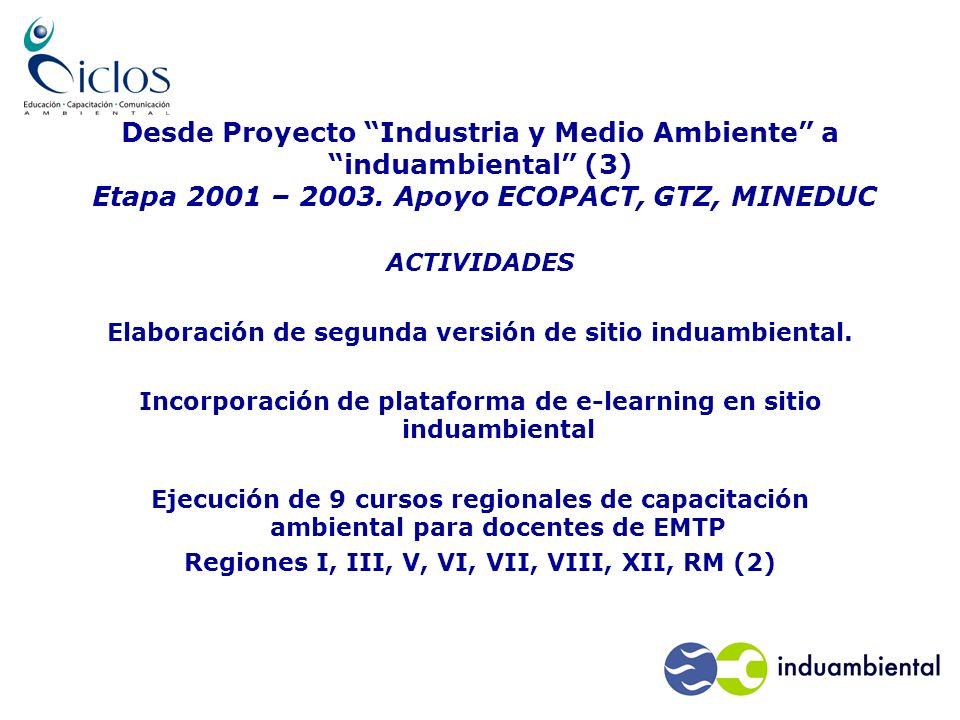 Desde Proyecto Industria y Medio Ambiente a induambiental (3) Etapa 2001 – 2003.
