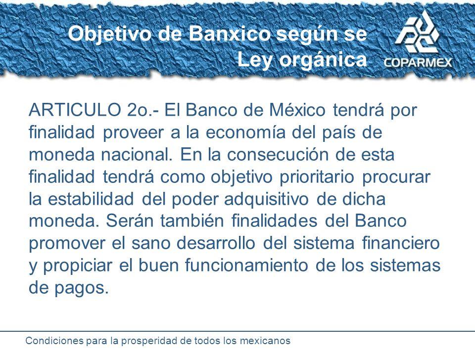 Condiciones para la prosperidad de todos los mexicanos Autonomía de Banxico 1925 Creación de Banxico Durante gobierno de Plutarco Elías Calles 1993Reforma constitucional que otorga autonomía a Banxico