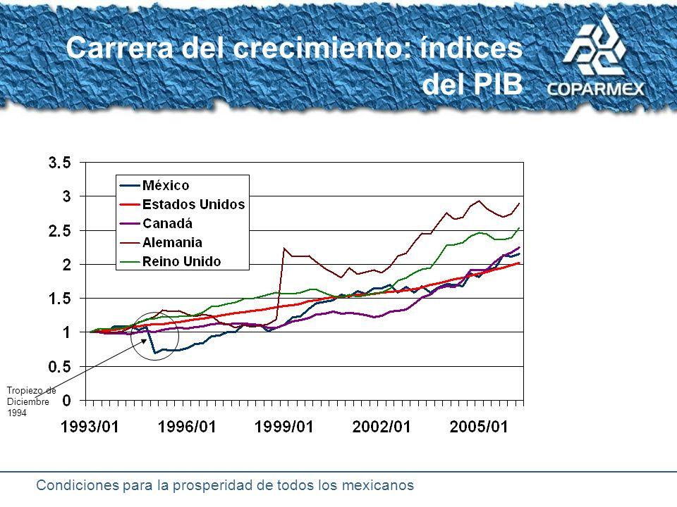 Condiciones para la prosperidad de todos los mexicanos Consecuencias nocivas de la inestabilidad Altera las tendencias de crecimiento del PIB Destruye el valor de los ingresos Confunde a los agentes económicos