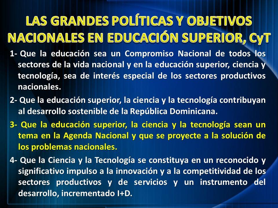 1- Que la educación sea un Compromiso Nacional de todos los sectores de la vida nacional y en la educación superior, ciencia y tecnología, sea de inte