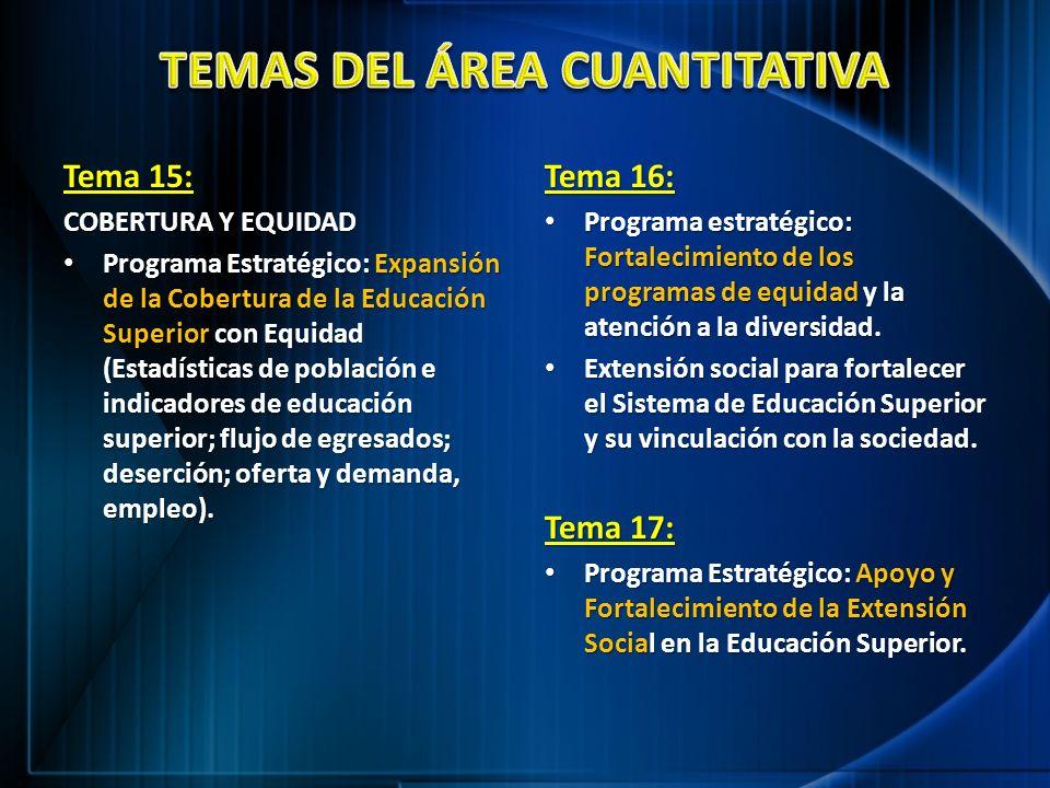 Tema 15: COBERTURA Y EQUIDAD Programa Estratégico: Expansión de la Cobertura de la Educación Superior con Equidad (Estadísticas de población e indicad
