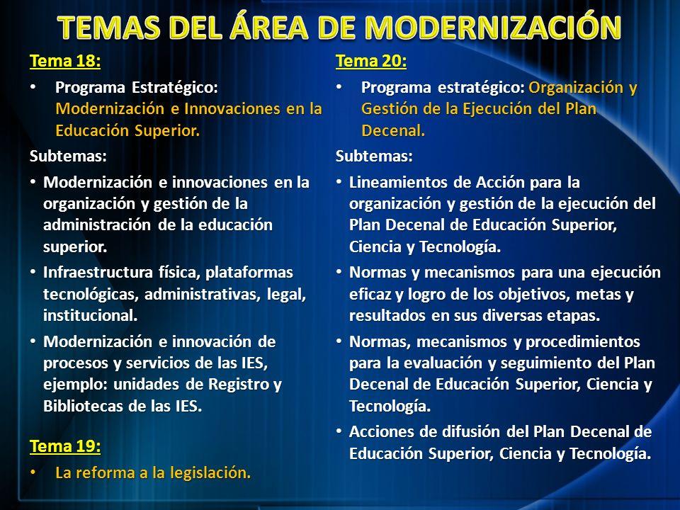 Tema 18: Programa Estratégico: Modernización e Innovaciones en la Educación Superior. Programa Estratégico: Modernización e Innovaciones en la Educaci