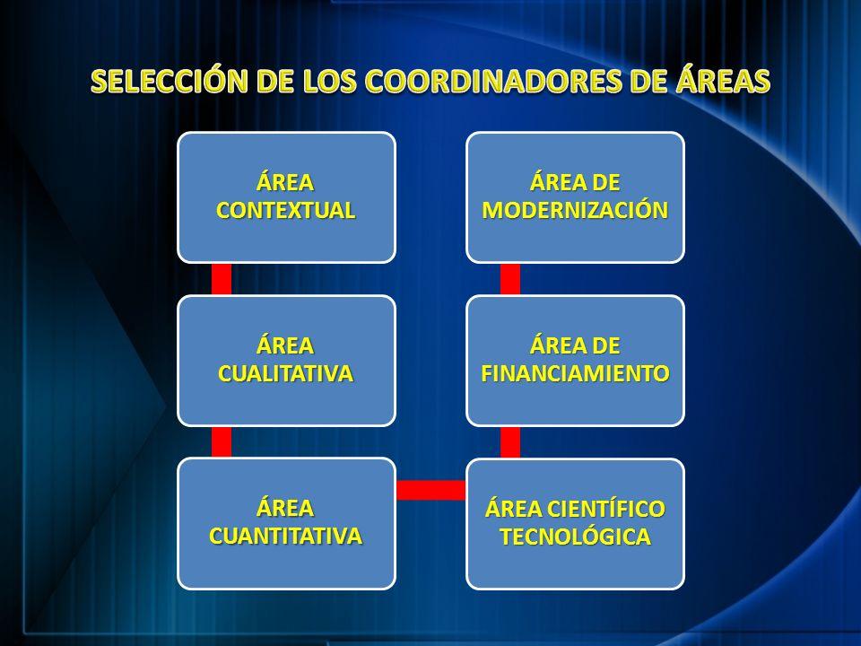 ÁREA CONTEXTUAL ÁREA CUALITATIVA ÁREA CUANTITATIVA ÁREA CIENTÍFICO TECNOLÓGICA ÁREA DE FINANCIAMIENTO ÁREA DE MODERNIZACIÓN