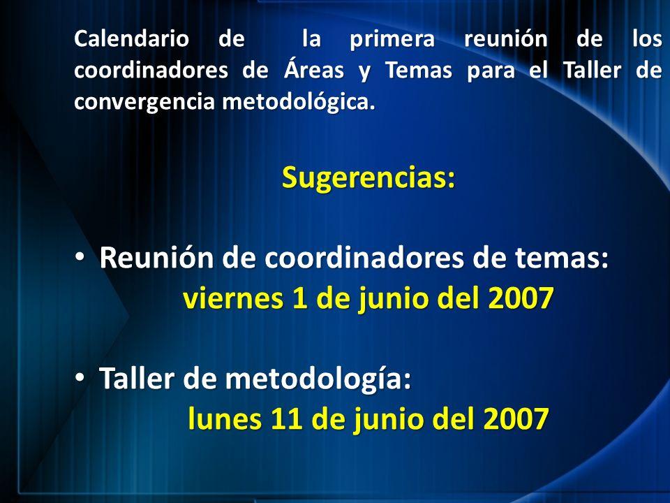 Calendario de la primera reunión de los coordinadores de Áreas y Temas para el Taller de convergencia metodológica. Sugerencias: Reunión de coordinado