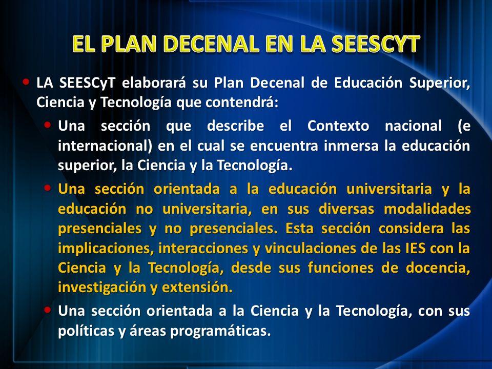 LA SEESCyT elaborará su Plan Decenal de Educación Superior, Ciencia y Tecnología que contendrá: LA SEESCyT elaborará su Plan Decenal de Educación Supe