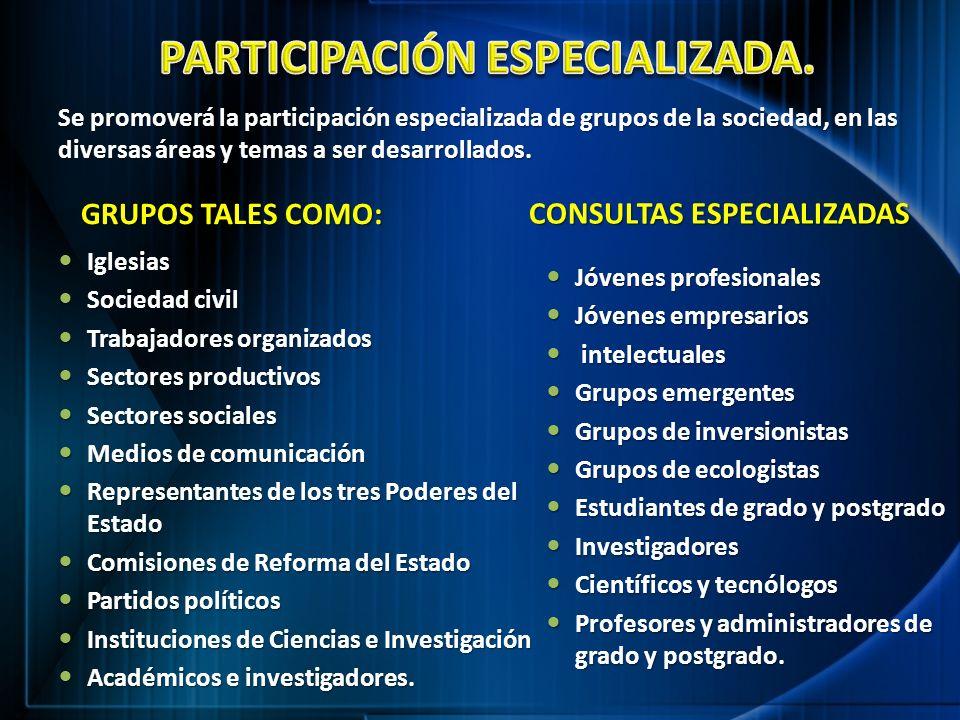 GRUPOS TALES COMO: GRUPOS TALES COMO: Iglesias Iglesias Sociedad civil Sociedad civil Trabajadores organizados Trabajadores organizados Sectores produ