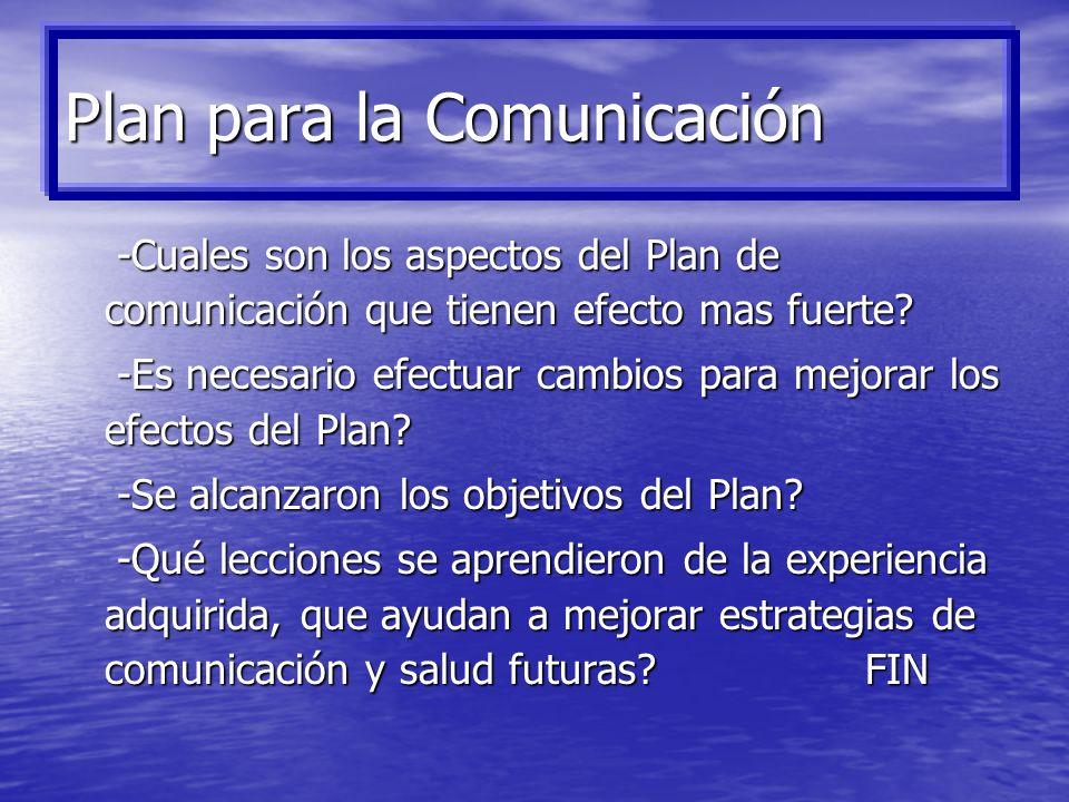 4. Realimentación del Plan: -Se está transmitiendo el mensaje a través de los canales de comunicación propuestos? -Se está transmitiendo el mensaje a