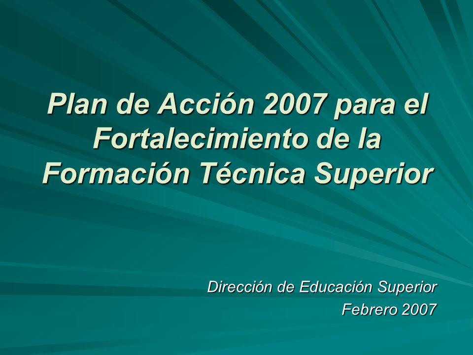 Plan de Acción 2007 para el Fortalecimiento de la Formación Técnica Superior Dirección de Educación Superior Febrero 2007
