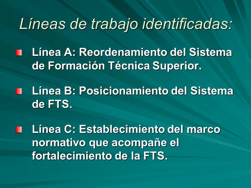 Líneas de trabajo identificadas: Línea A: Reordenamiento del Sistema de Formación Técnica Superior.
