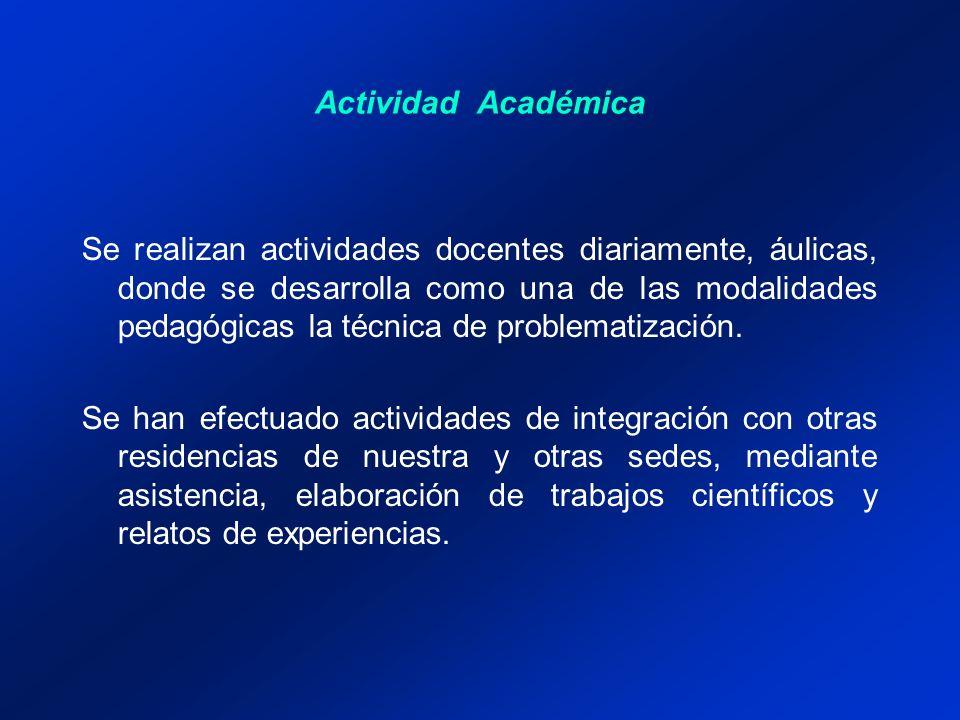 Actividad Académica Se realizan actividades docentes diariamente, áulicas, donde se desarrolla como una de las modalidades pedagógicas la técnica de problematización.