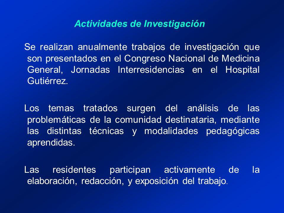 Actividades de Investigación Se realizan anualmente trabajos de investigación que son presentados en el Congreso Nacional de Medicina General, Jornadas Interresidencias en el Hospital Gutiérrez.