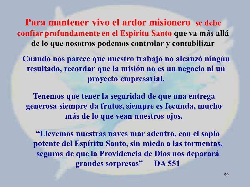 58 Motivación 13 El Espíritu viene en ayuda de nuestra debilidad (Rom 8, 26) CONFIANZA EN LA ACCIÓN MISTERIOSA DEL ESPÍRITU
