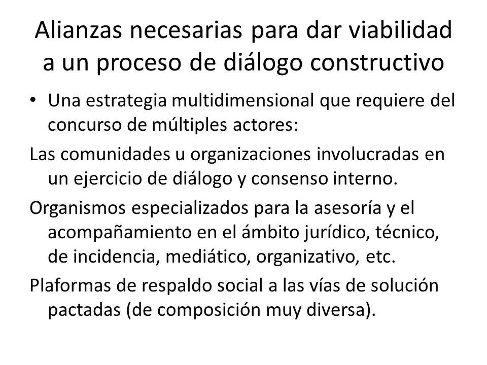 Alianzas necesarias para dar viabilidad a un proceso de diálogo constructivo Una estrategia multidimensional que requiere del concurso de múltiples actores: Las comunidades u organizaciones involucradas en un ejercicio de diálogo y consenso interno.