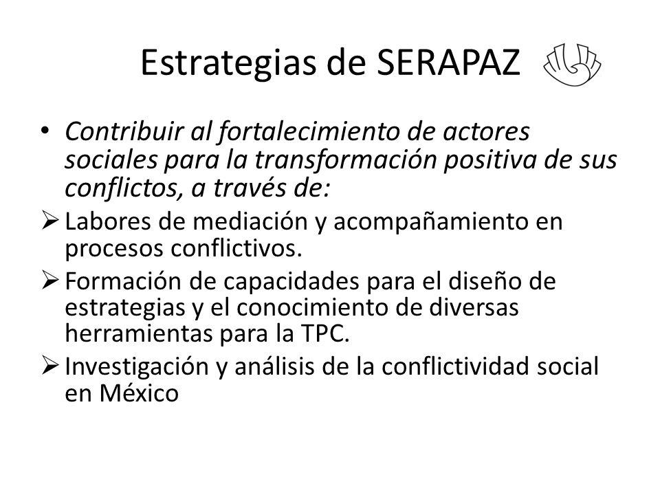 Estrategias de SERAPAZ Contribuir al fortalecimiento de actores sociales para la transformación positiva de sus conflictos, a través de: Labores de mediación y acompañamiento en procesos conflictivos.