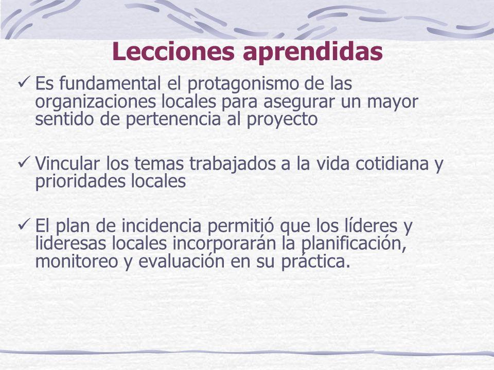 Lecciones aprendidas Es fundamental el protagonismo de las organizaciones locales para asegurar un mayor sentido de pertenencia al proyecto Vincular los temas trabajados a la vida cotidiana y prioridades locales El plan de incidencia permitió que los líderes y lideresas locales incorporarán la planificación, monitoreo y evaluación en su práctica.
