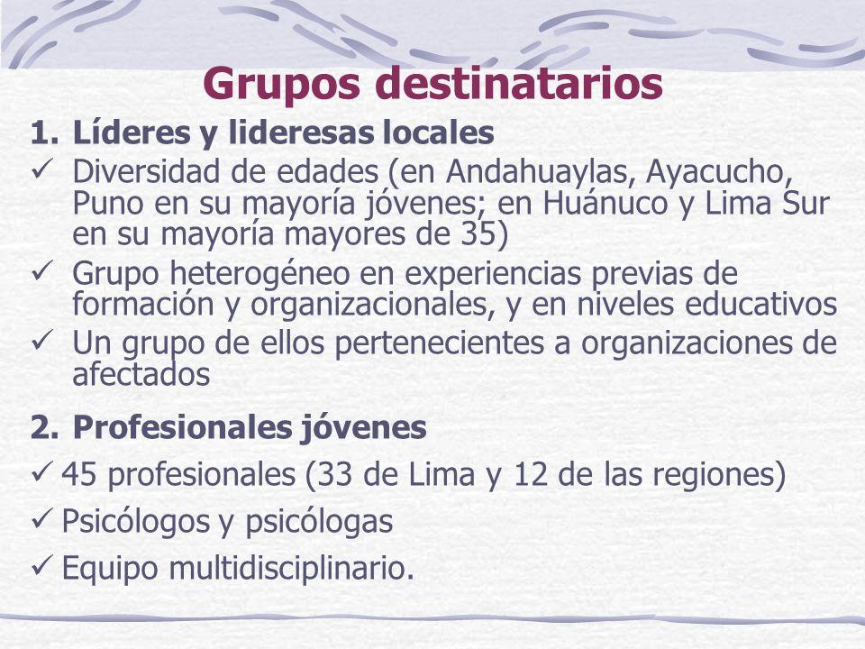 Grupos destinatarios 1.Líderes y lideresas locales Diversidad de edades (en Andahuaylas, Ayacucho, Puno en su mayoría jóvenes; en Huánuco y Lima Sur en su mayoría mayores de 35) Grupo heterogéneo en experiencias previas de formación y organizacionales, y en niveles educativos Un grupo de ellos pertenecientes a organizaciones de afectados 2.Profesionales jóvenes 45 profesionales (33 de Lima y 12 de las regiones) Psicólogos y psicólogas Equipo multidisciplinario.