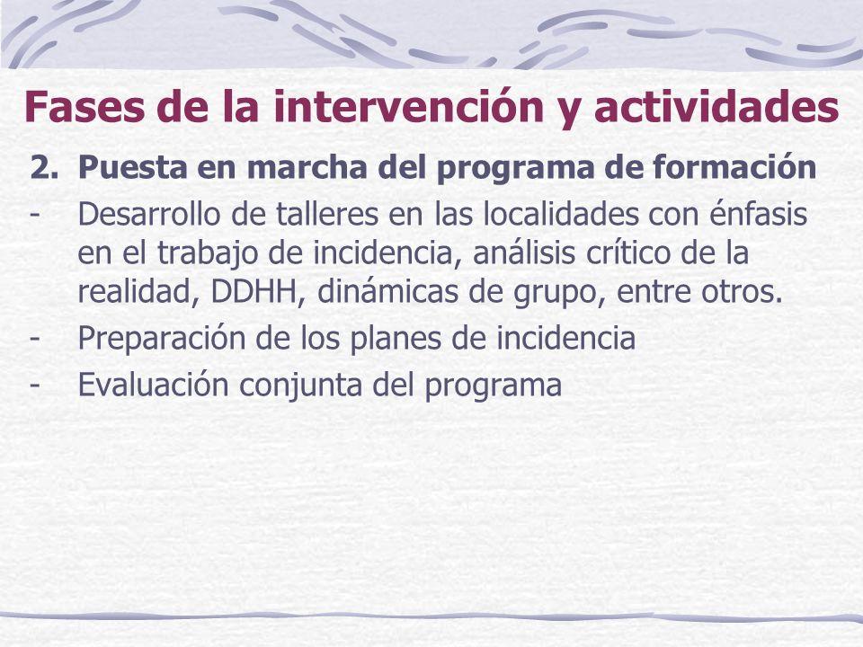 Fases de la intervención y actividades 2.Puesta en marcha del programa de formación -Desarrollo de talleres en las localidades con énfasis en el trabajo de incidencia, análisis crítico de la realidad, DDHH, dinámicas de grupo, entre otros.