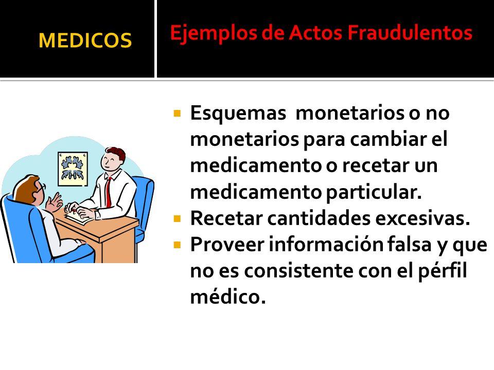Ejemplos de Actos Fraudulentos MEDICOS Esquemas monetarios o no monetarios para cambiar el medicamento o recetar un medicamento particular. Recetar ca