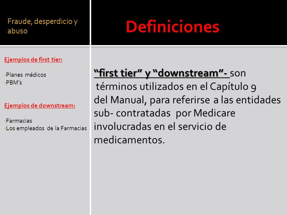 Fraude, desperdicio y abuso Ejemplos de first tier: Planes médicos PBMs Ejemplos de downstream: Farmacias Los empleados de la Farmacias Definiciones f