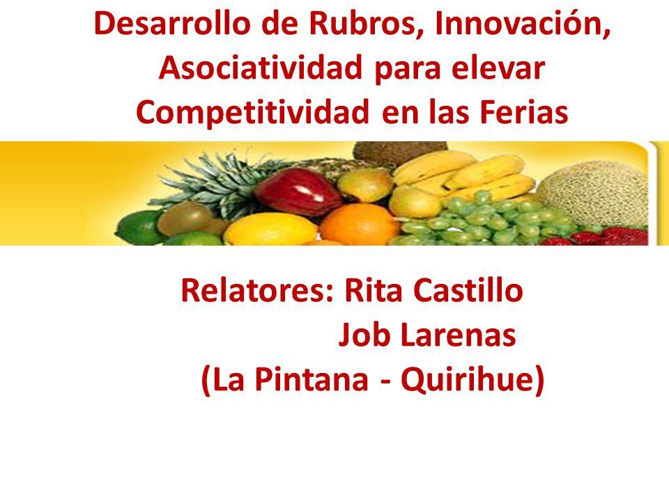 Desarrollo de Rubros, Innovación, Asociatividad para elevar Competitividad en las Ferias Relatores: Rita Castillo Job Larenas (La Pintana - Quirihue)