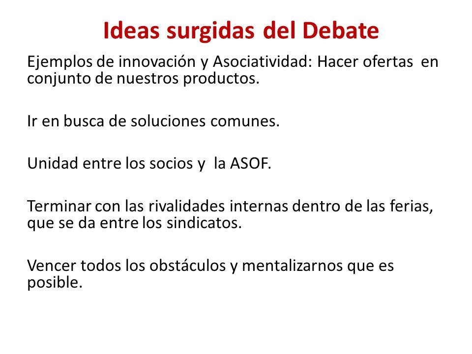 Ejemplos de innovación y Asociatividad: Hacer ofertas en conjunto de nuestros productos. Ir en busca de soluciones comunes. Unidad entre los socios y