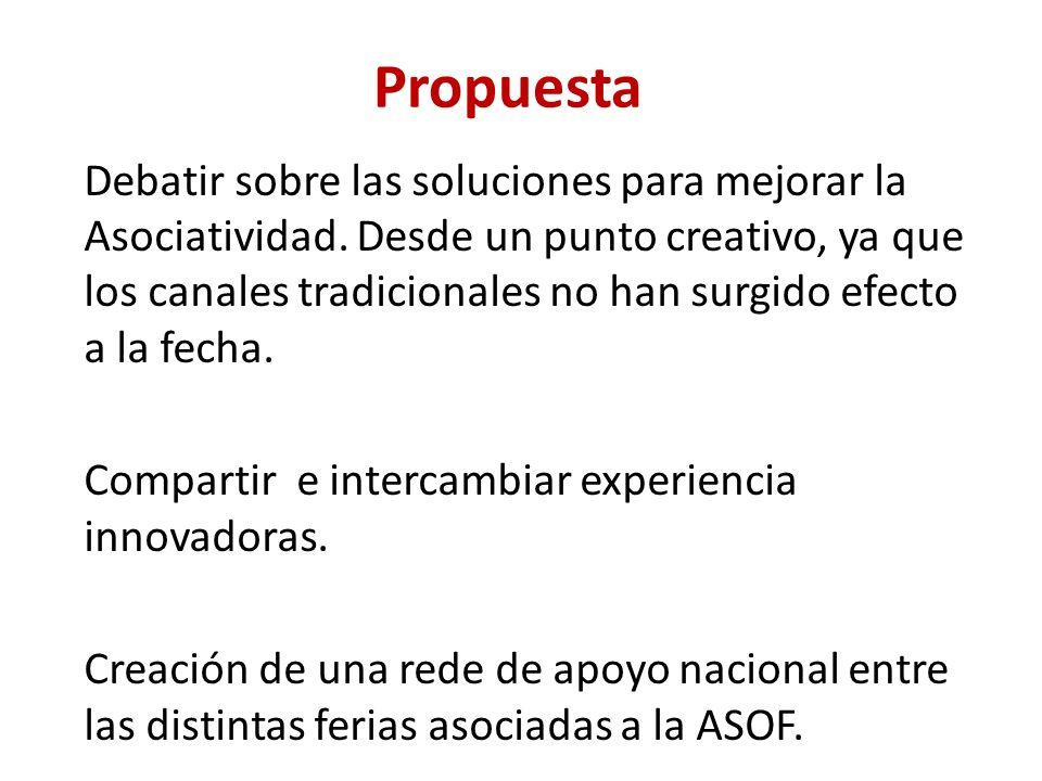 Propuesta Debatir sobre las soluciones para mejorar la Asociatividad.