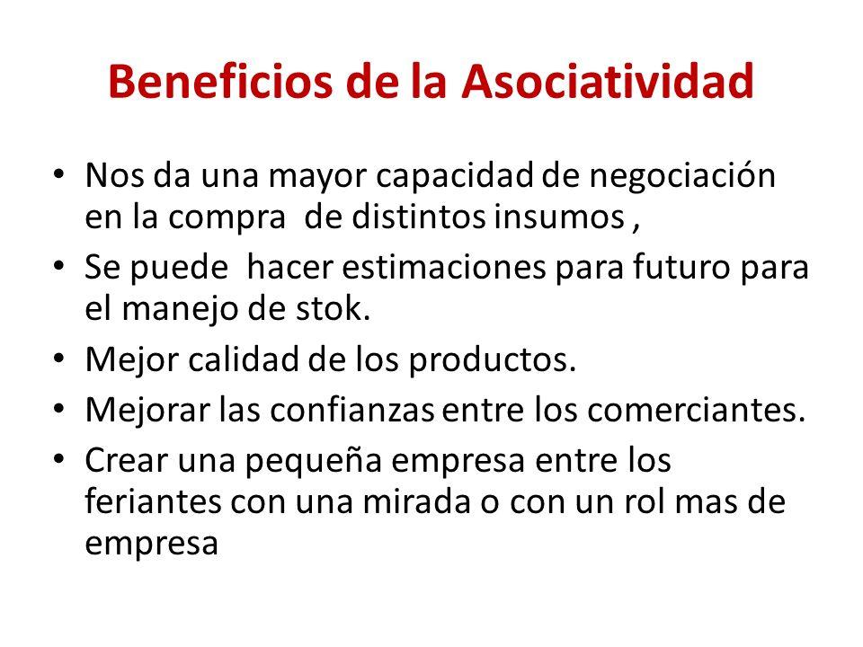 Beneficios de la Asociatividad Nos da una mayor capacidad de negociación en la compra de distintos insumos, Se puede hacer estimaciones para futuro para el manejo de stok.