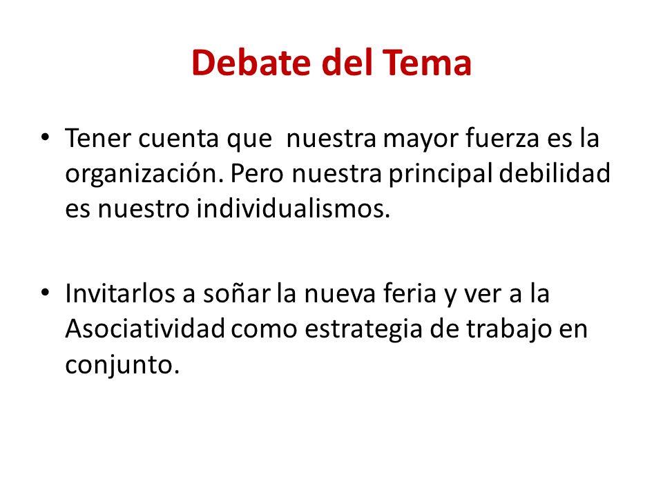 Debate del Tema Tener cuenta que nuestra mayor fuerza es la organización.