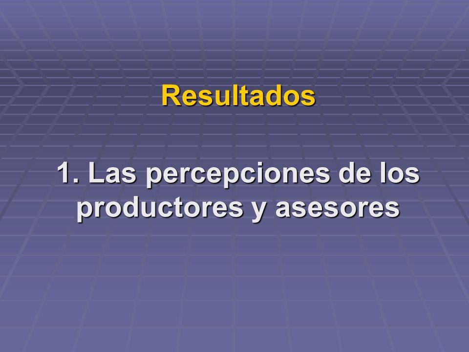 Resultados 1. Las percepciones de los productores y asesores