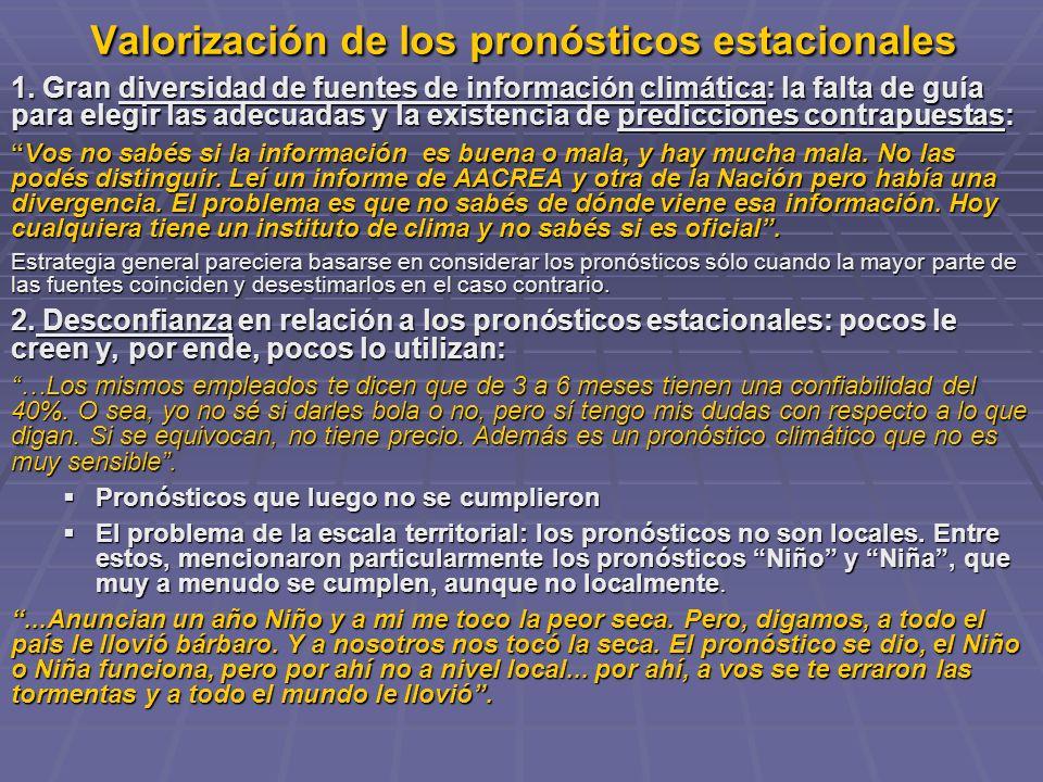 Valorización de los pronósticos estacionales 1.