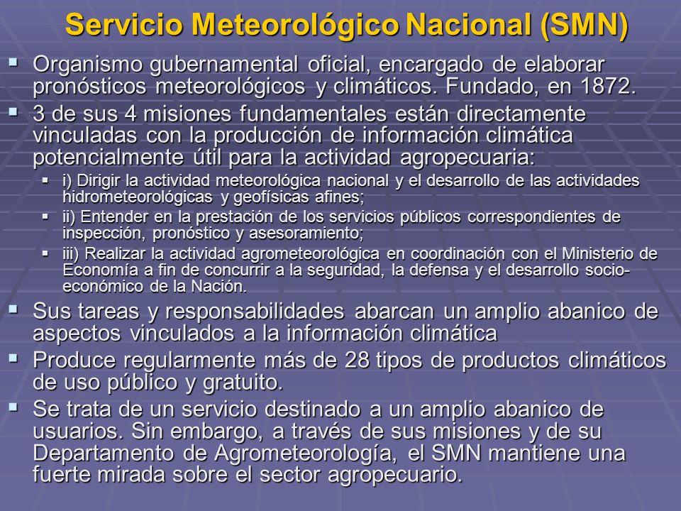 Servicio Meteorológico Nacional (SMN) Organismo gubernamental oficial, encargado de elaborar pronósticos meteorológicos y climáticos. Fundado, en 1872