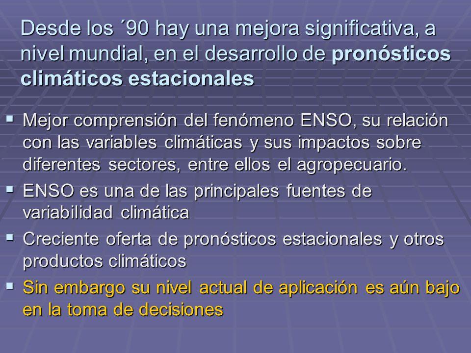 Desde los ´90 hay una mejora significativa, a nivel mundial, en el desarrollo de pronósticos climáticos estacionales Mejor comprensión del fenómeno ENSO, su relación con las variables climáticas y sus impactos sobre diferentes sectores, entre ellos el agropecuario.