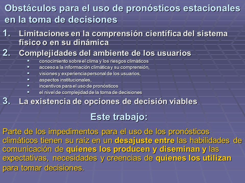 Obstáculos para el uso de pronósticos estacionales en la toma de decisiones 1. Limitaciones en la comprensión científica del sistema físico o en su di