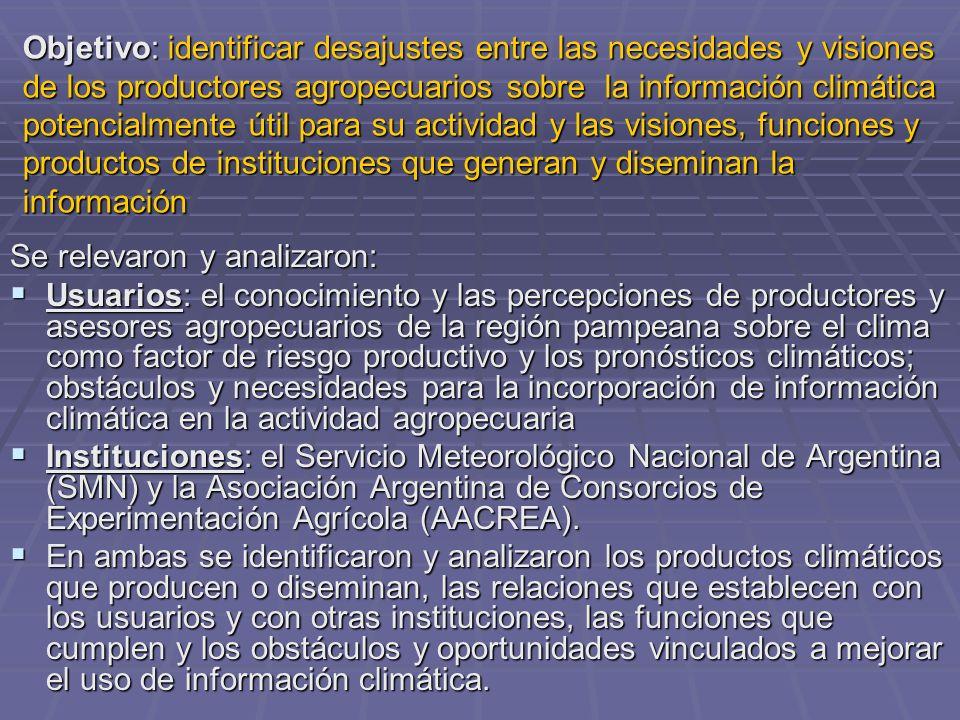 Objetivo: identificar desajustes entre las necesidades y visiones de los productores agropecuarios sobre la información climática potencialmente útil