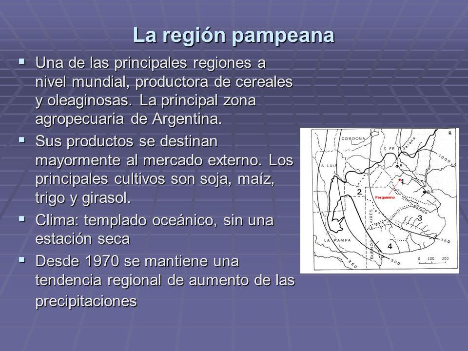 La región pampeana Una de las principales regiones a nivel mundial, productora de cereales y oleaginosas. La principal zona agropecuaria de Argentina.
