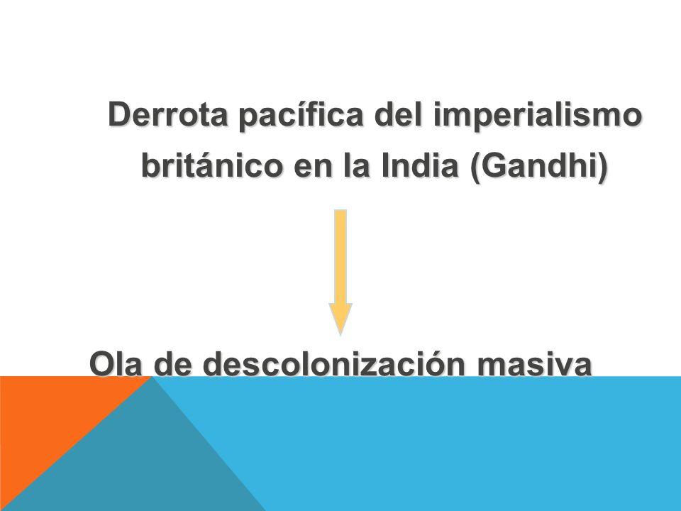 Derrota pacífica del imperialismo británico en la India (Gandhi) Ola de descolonización masiva