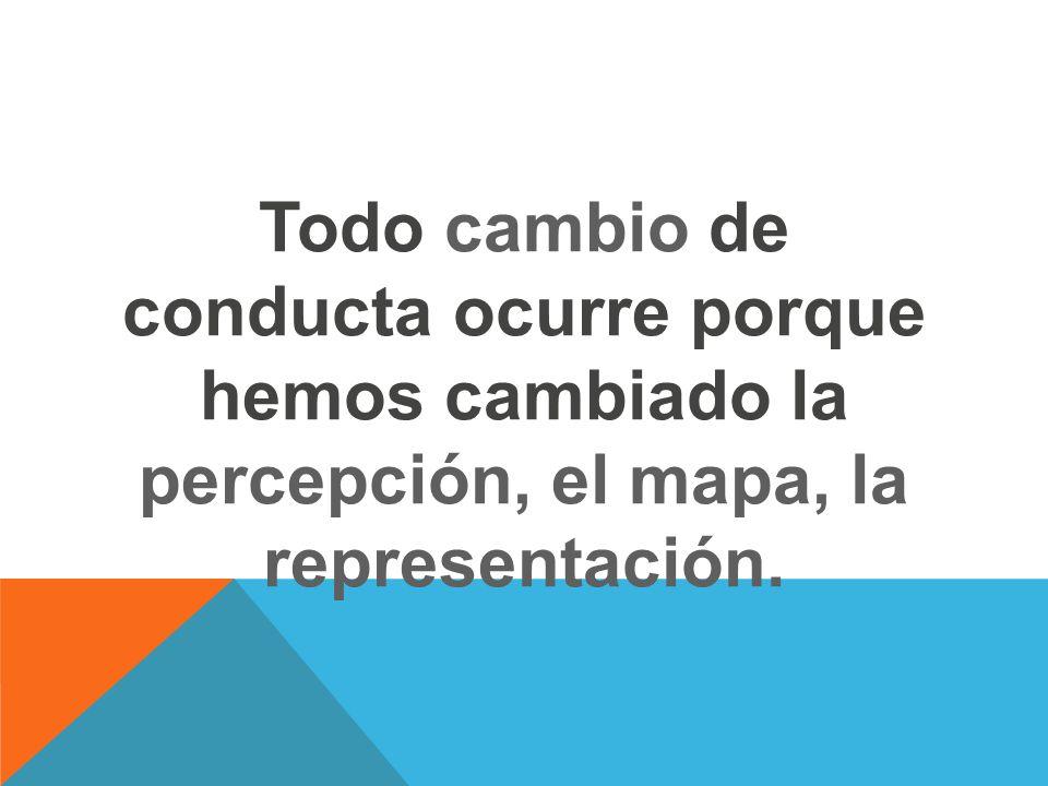 Todo cambio de conducta ocurre porque hemos cambiado la percepción, el mapa, la representación.