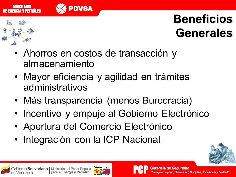 Beneficios Generales Ahorros en costos de transacción y almacenamiento Mayor eficiencia y agilidad en trámites administrativos Más transparencia (menos Burocracia) Incentivo y empuje al Gobierno Electrónico Apertura del Comercio Electrónico Integración con la ICP Nacional