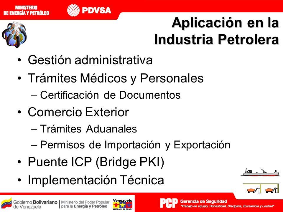 Aplicación en la Industria Petrolera Gestión administrativa Trámites Médicos y Personales –Certificación de Documentos Comercio Exterior –Trámites Aduanales –Permisos de Importación y Exportación Puente ICP (Bridge PKI) Implementación Técnica