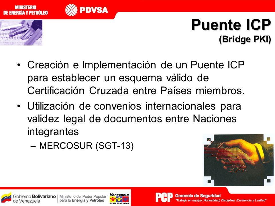 Creación e Implementación de un Puente ICP para establecer un esquema válido de Certificación Cruzada entre Países miembros.
